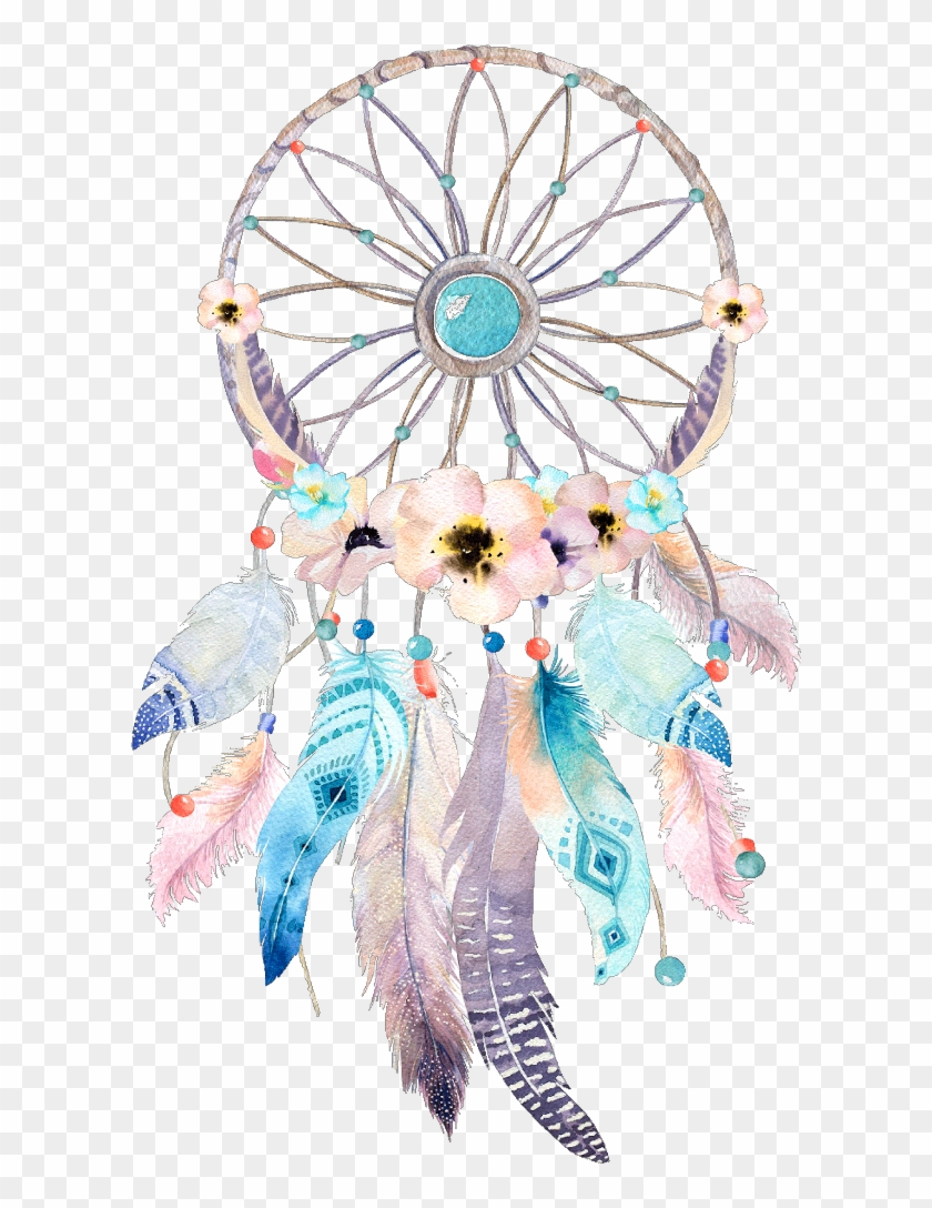 #dreamcatcher #watercolor #flower #wonderland #fairytale - Clipart Boho Dream Catcher, HD Png Download #5748677