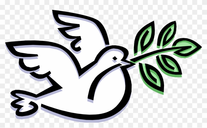 Vector Illustration Of Feathered Bird Peace Dove Carries - Quaker Society Of Friends Clipart #5753461