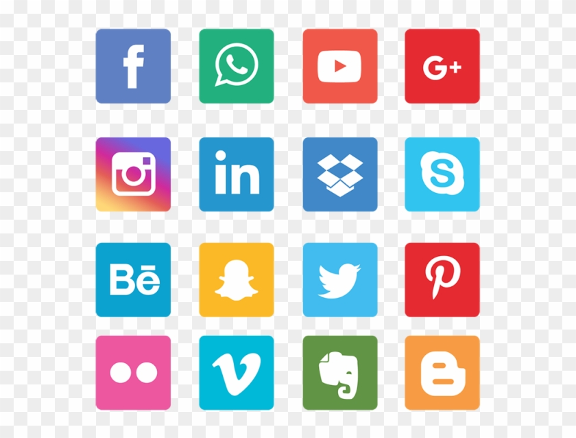 Social Media Icons Grey Png Clipart #582498