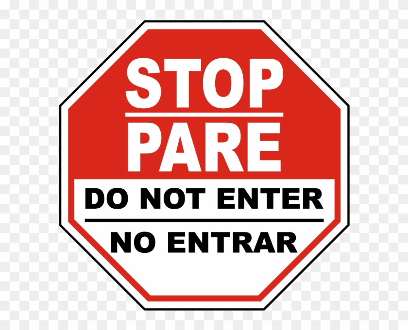 600 X 600 4 - Bilingual Do Not Enter Sign Clipart #585089