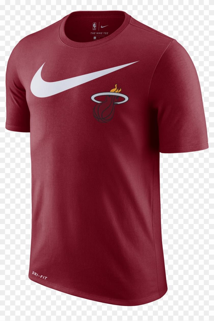Nike Miami Heat Short Sleeve 2018 Swoosh Tee Red - Nike Nba T Shirt Cleveland Cavaliers Clipart #5800111