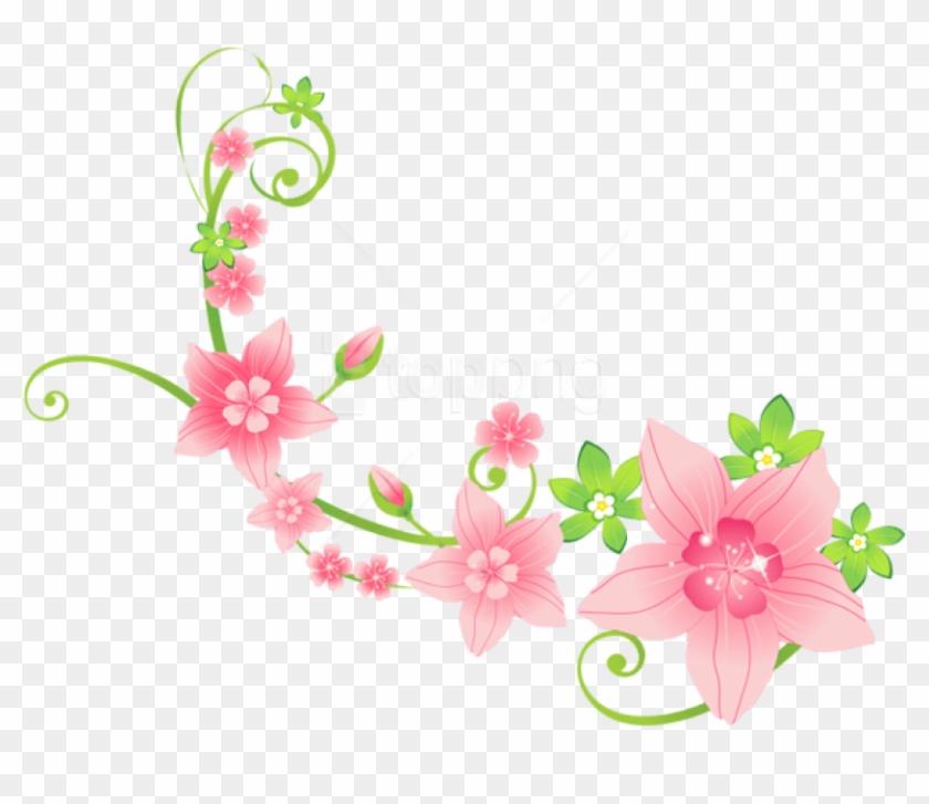 Download Pink Floral Decoration Png Clip-art Png Images - Pink Flower Clipart Png Transparent Png #5840110