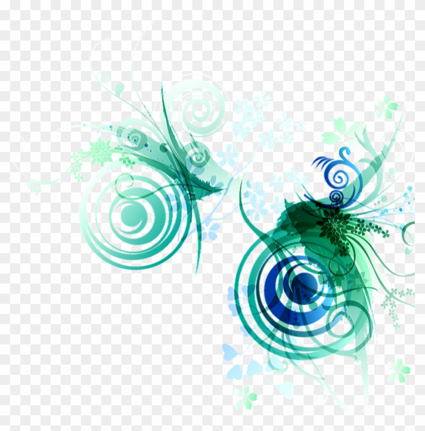 #ftestickers #border #floralart #abstract #green #blue - Graphic Design Clipart #5846908
