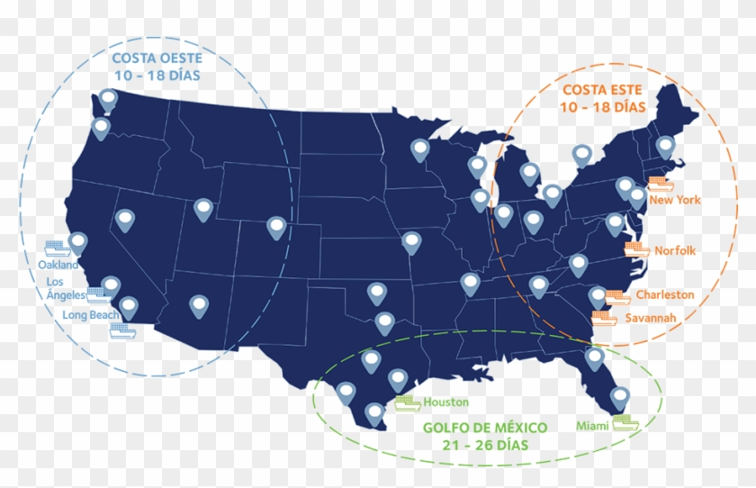 Mapa Transit Times Usa Estados Unidos Espana - Us And Mexico Map Outline Clipart #5850680