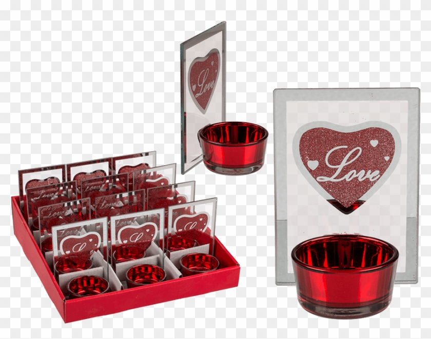 Glass Tealight Holder With Print Love & Red Glitter - Heart Clipart #5865475