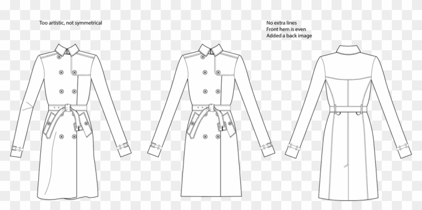 Vector Black And White Download Communicating With - Trench Coat Front Back Flat Sketch Clipart #5871044