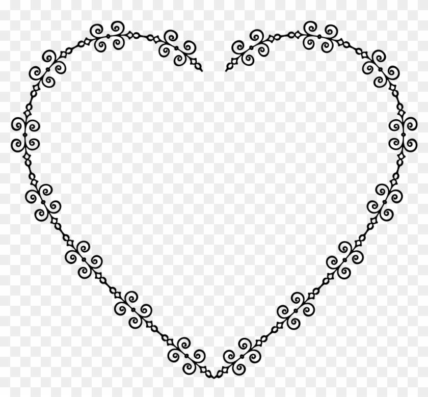 Png Free Onlinelabels Clip Art Heart Frame Details - Heart Bw Png Transparent Png #5882422