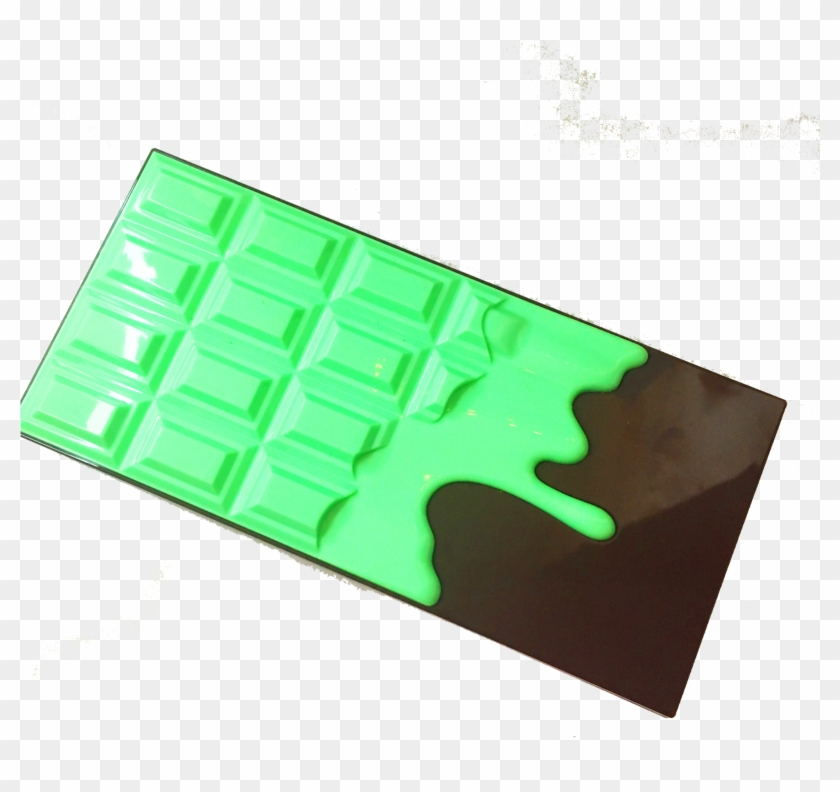 A Luminous Green Dripping Chocolate Design On A Brown - Carmine Clipart #5898515