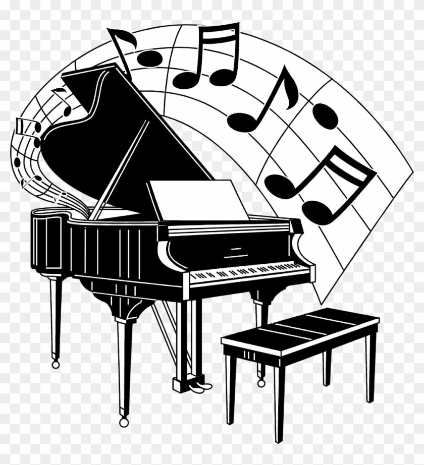Musical Music Notes Music Notes Clip Art Music And - Piano With Music Notes - Png Download #592544