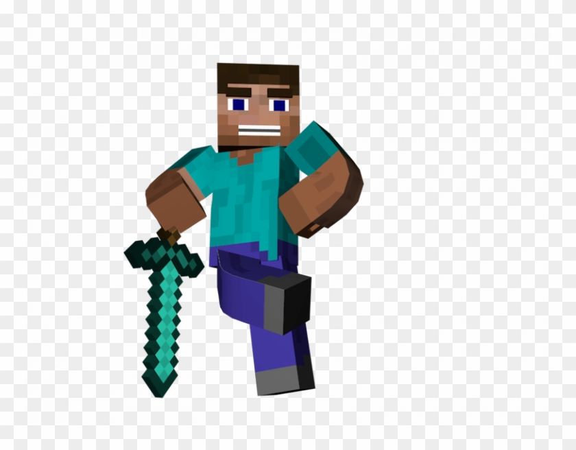 Minecraft Steve With Sword Man Standing Sword Minecraft