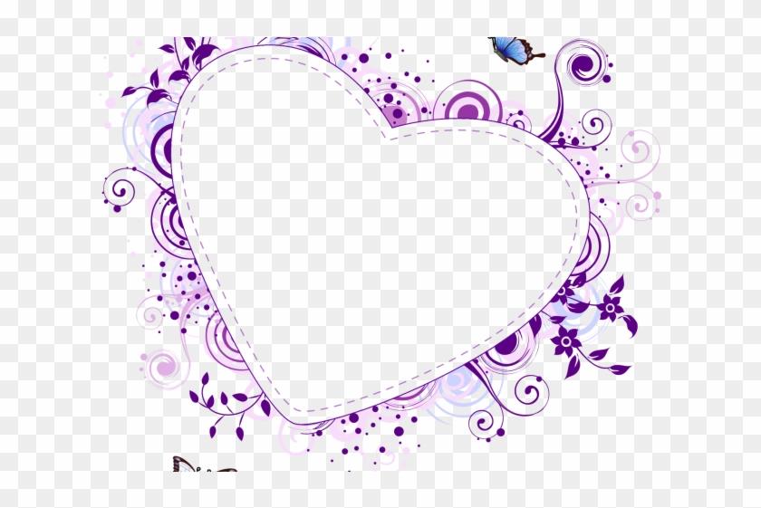Love Frame Clipart Purple - Heart Frame Vector Png Transparent Png #5992869