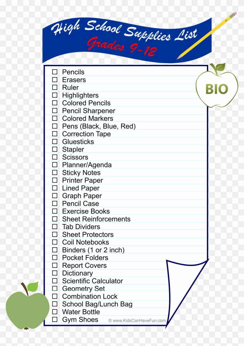 High School Supplies List Is All You Need To Get Students - Meridian Middle School Clipart #5998727