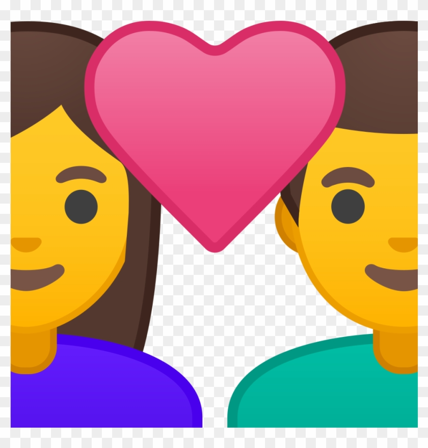 Couple With Heart Woman Man Icon - Emoji Boy And Girl With Heart Clipart #61499