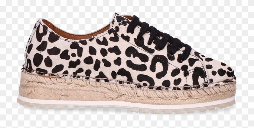 Lace Up Espadrille Leopard Pony Off White - Slip-on Shoe Clipart #61579
