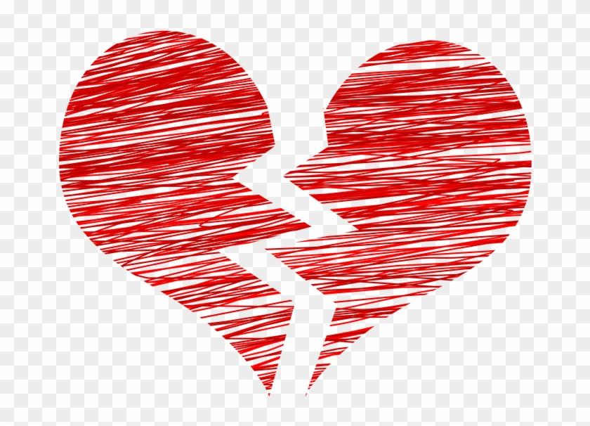 Breakup Heart Sketch - Broken Heart Transparent Background Clipart #62282