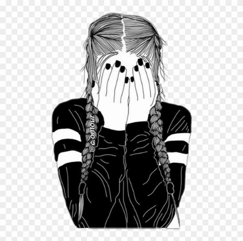 Girl Tumblr Outline Freetoedit - Drawing Of A Girl With Braids ...