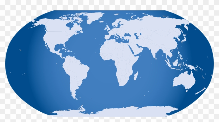 Globe-32299 480 - Blue Map Of The World Clipart #604607