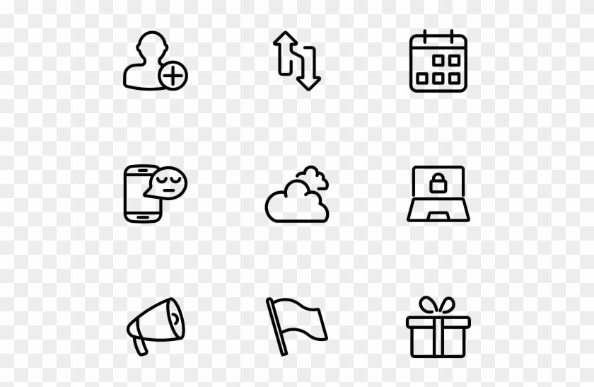 50 Icons - Line Art Clipart #605070