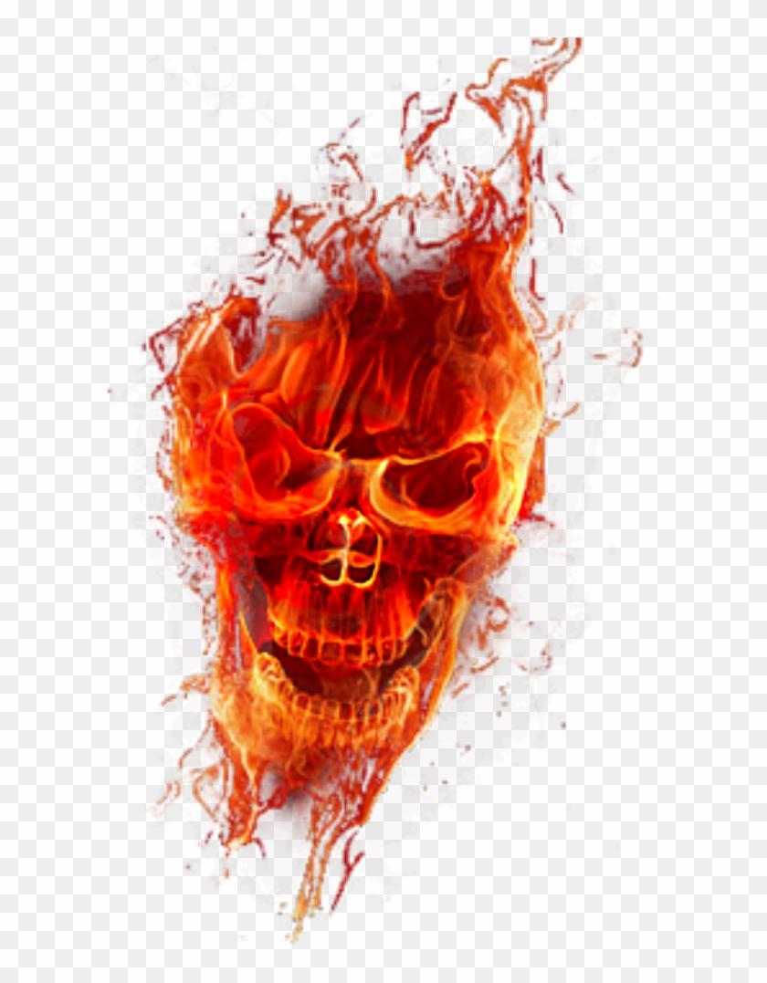 Skull Fire Png - Flame Design Transparent Png Clipart #610947