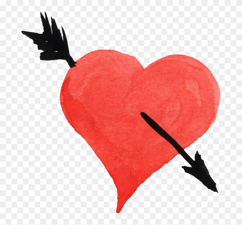 Watercolor Heart Png - Heart And Arrow Png Clipart #611095