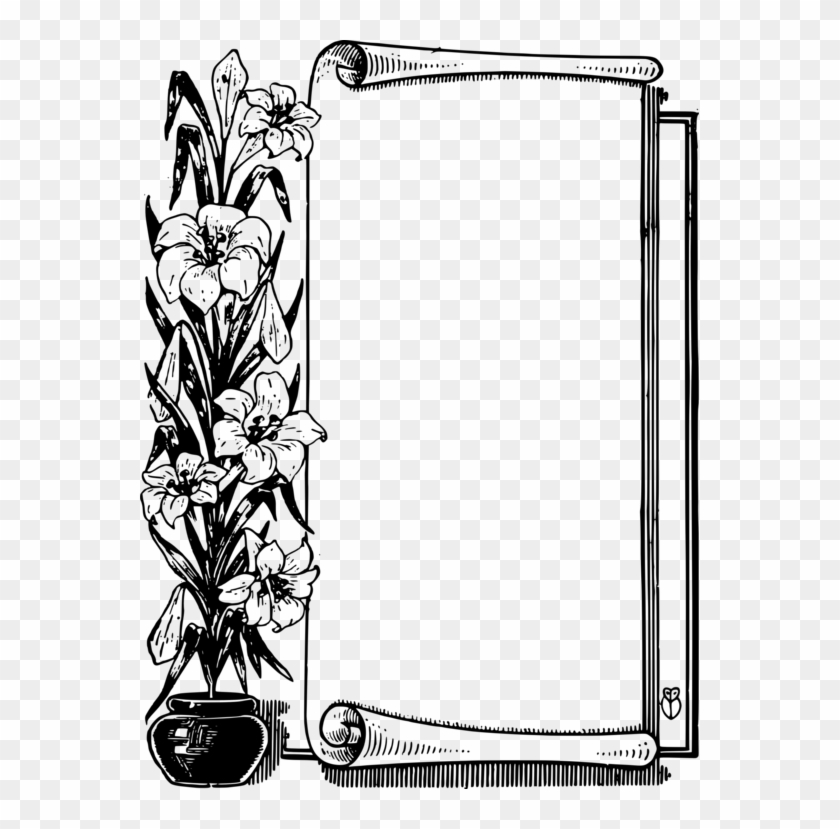 Borders And Frames Picture Frames Scroll Paper Computer - Flower Frame Border Black And White Png Clipart #620811