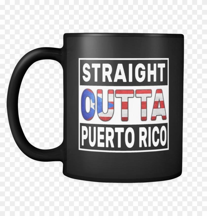 Straight Outta Rican Flag Oz Funny Black - Mug Clipart #631696