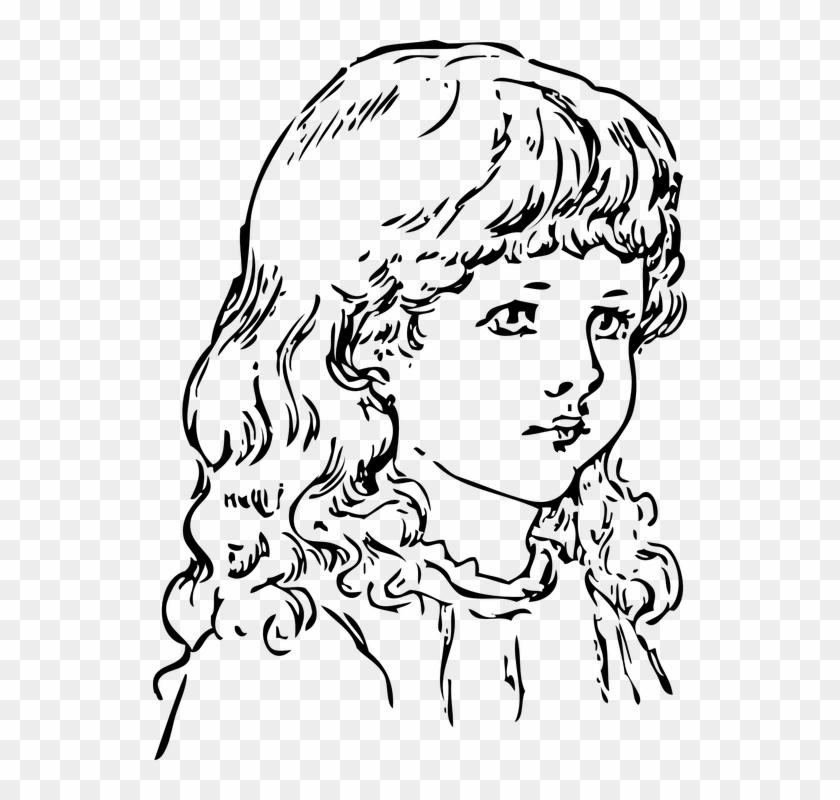 Little Girl Clipart Long Hair - Png Download #632536