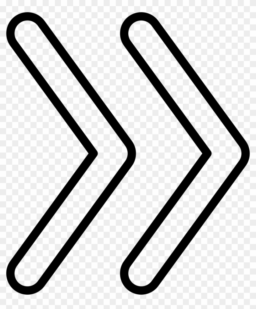Double Arrows Angles Outline Comments - Double Arrow Symbol Png White Clipart #633201