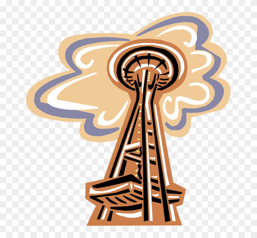 Vector Illustration Of Space Needle Landmark Observation - Space Needle Clip Art - Png Download #641944