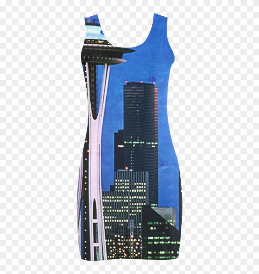 Seattle Space Needle Watercolor Medea Vest Dress - Vest Clipart #642267