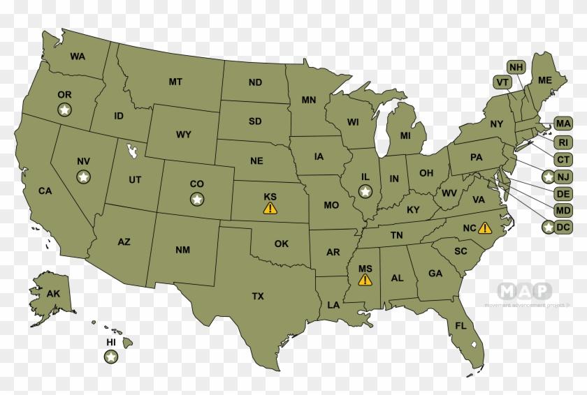 United States Map - Warren Vs Trump 2020 Clipart #655412