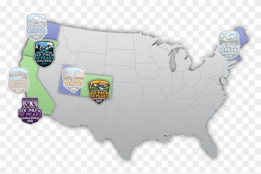 Six-pack Of Peaks Challenge Around The Us - Us Average Snow Depth Map Clipart