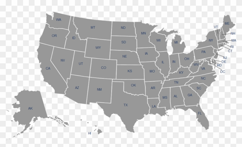 United States Map - Map Of America Gray Clipart #655749