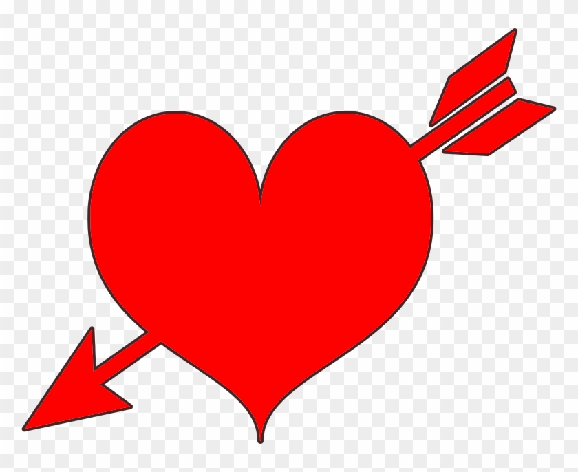 Free Red Heart With Arrow Clip Art - Red Heart With Arrow - Png Download #657680