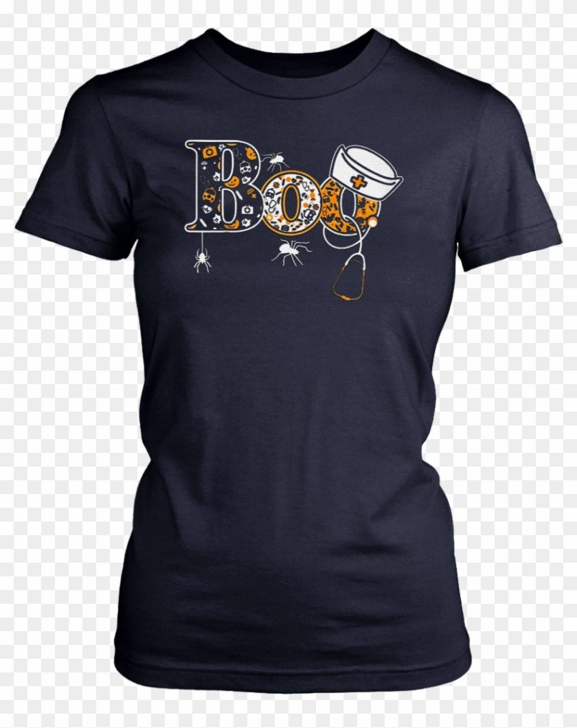 Boo Halloween Shirt With Spiders And Witch Nurse Hat ...