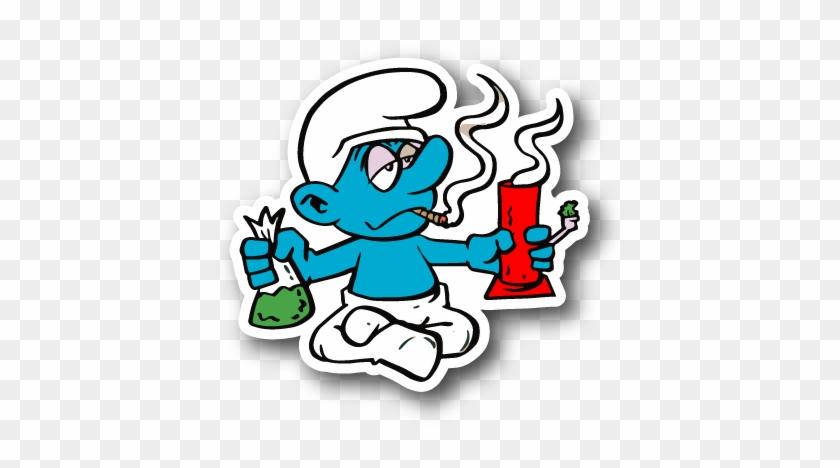 Blue Cartoon Hitting A Bong Sticker - Weed Sticker Png Clipart #664608