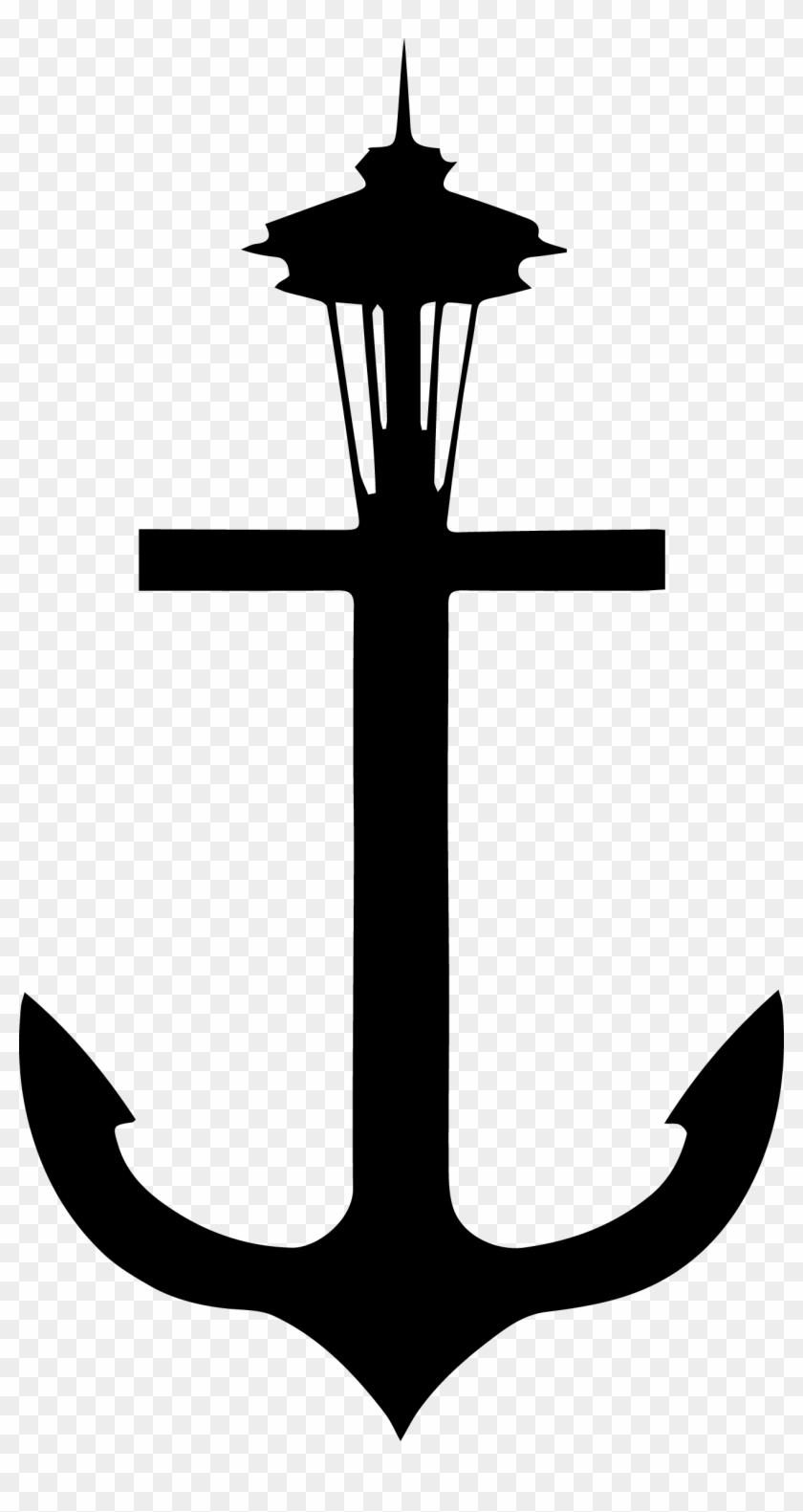 Drawn Anchor Trident - Space Needle Clipart #666262
