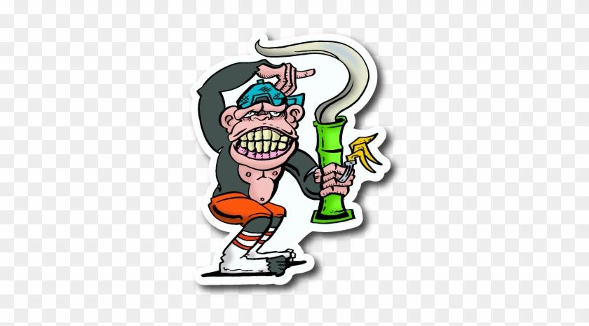 Ape Smoking Sticker - Sticker Clipart #670554