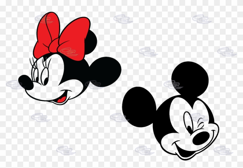 Smiling Cute Faces Mickey Mouse Minnie Mouse Red Bow - Mickey Mouse And Minnie Mouse Face Clipart #693908