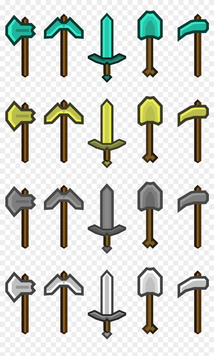 Minecraft Tools Sword Pickaxe Axe And Shovel Minecraft Swords And Pickaxes Clipart 78402 Pikpng