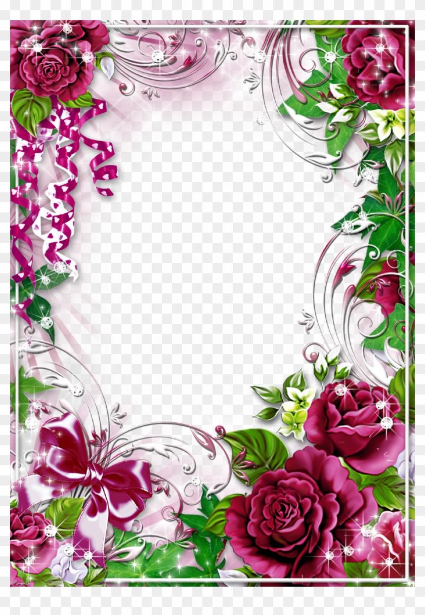 Frame Floral, Rose Frame, Flower Frame - Frame Flower Png Hd, Transparent Png #78543