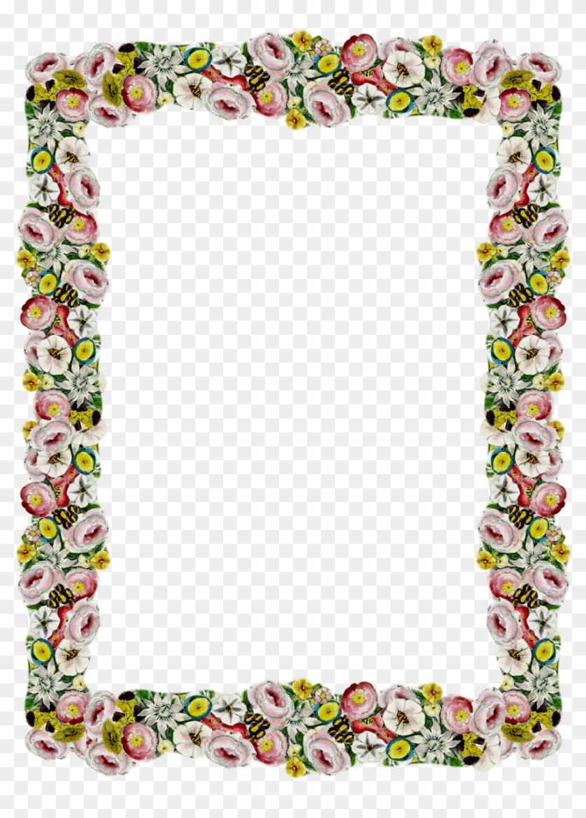 Digital Vintage Flower Frame And Border Pictures - Frame Flower Border Png Clipart #78615