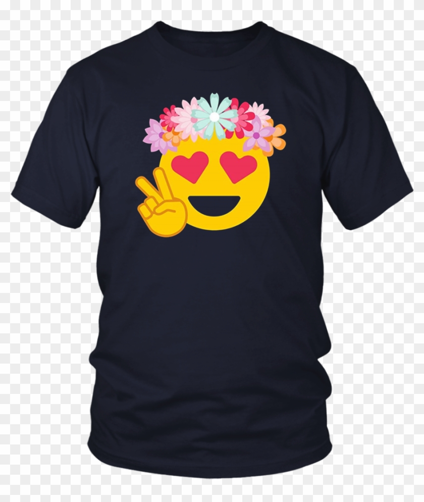 Funny Smiley Smiling Heart Eyes Emoji With Hippie Flower - Larry Bernandez T Shirt Clipart #716610