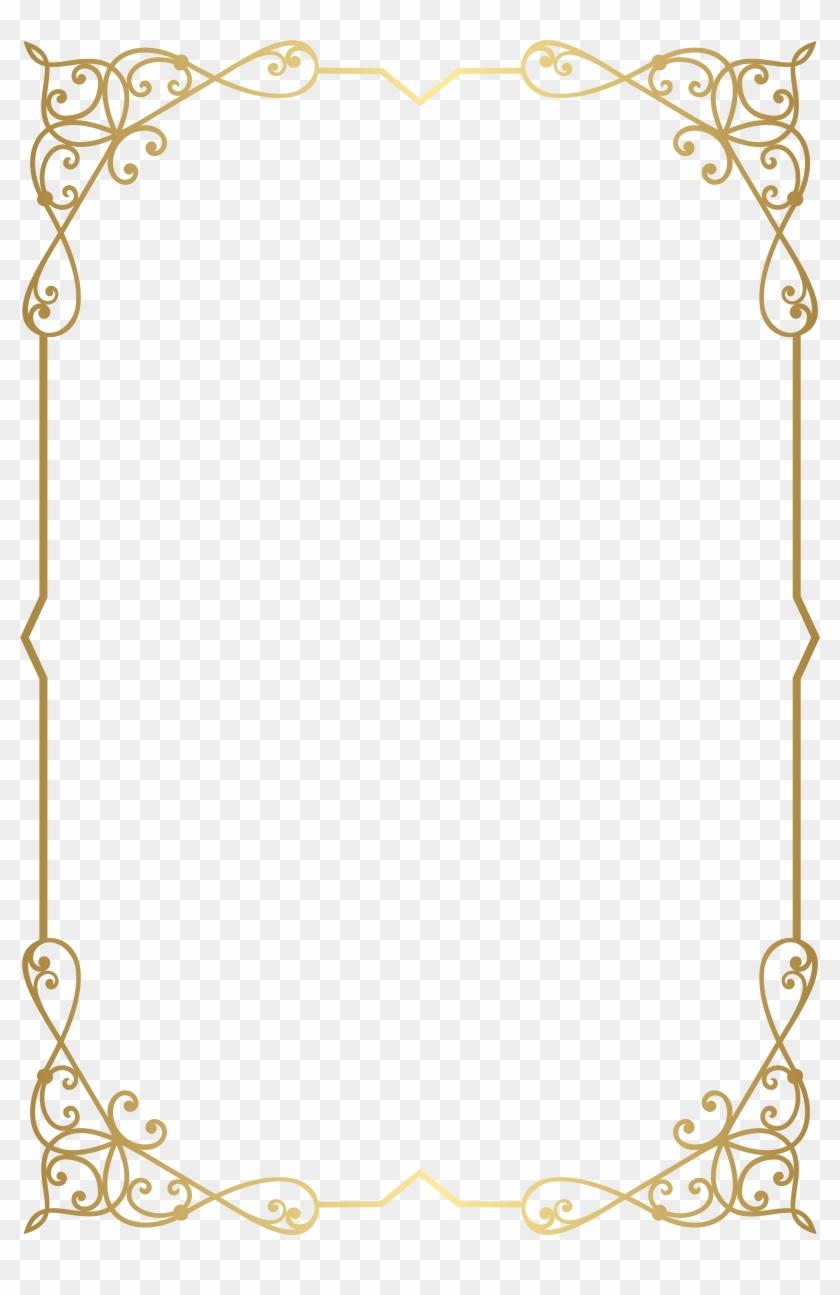 Decorative Frame Border Png Clip Art Image - Gold Floral Frame Png Transparent Png #740129