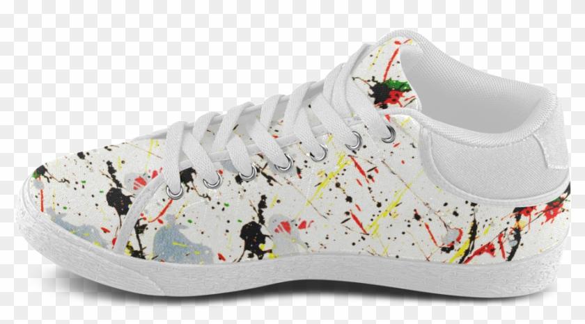 Yellow & Black Paint Splatter Women's Chukka Canvas - Skate Shoe Clipart #747165