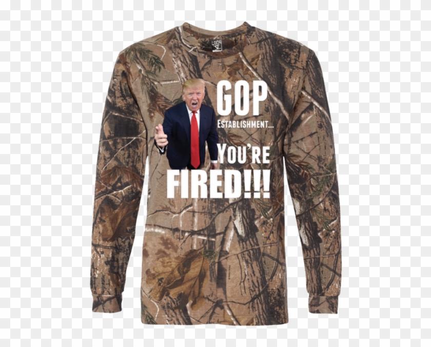 Donald Trump Fires Gop Long Sleeve Camo T-shirt Tiberius - Wood Camo T Shirt Clipart #757658