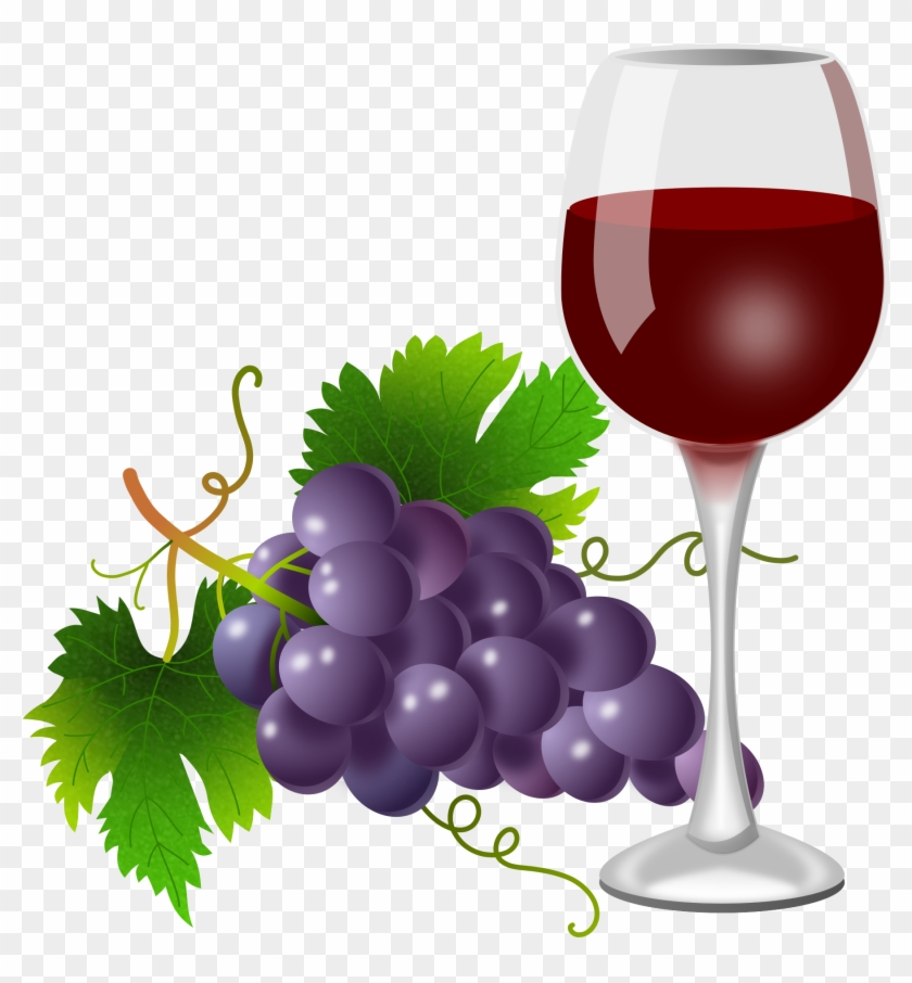 Purple Grapes And Wine Glass - Grape Drink In Glass Clipart - Png Download #773454