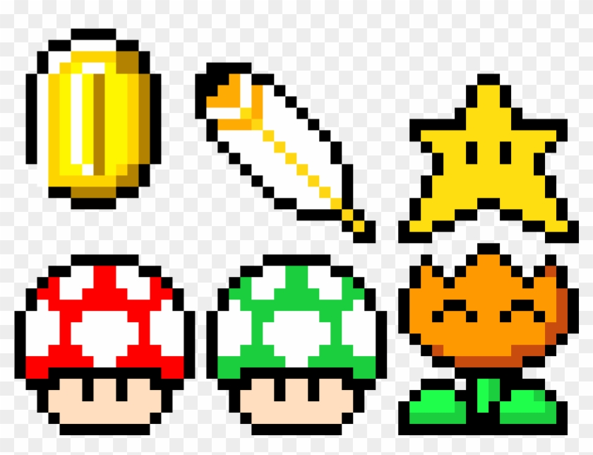 Mario Power Ups And A Coin Pixel Art Mario Power Ups