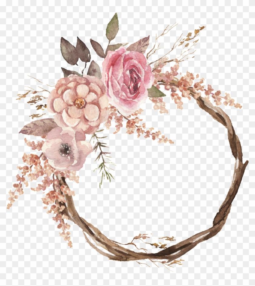 1024 X 1024 4 Watercolour Flower Wreaths Boho Clipart 776095