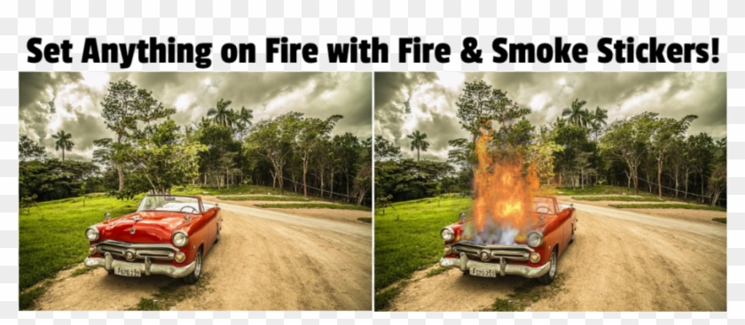 Car On Fire Effect - Old Car Background, HD Png Download